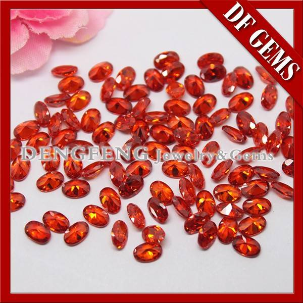 China Gemstone Product Oval Cut Orange Red cubic zirconia for jewelry