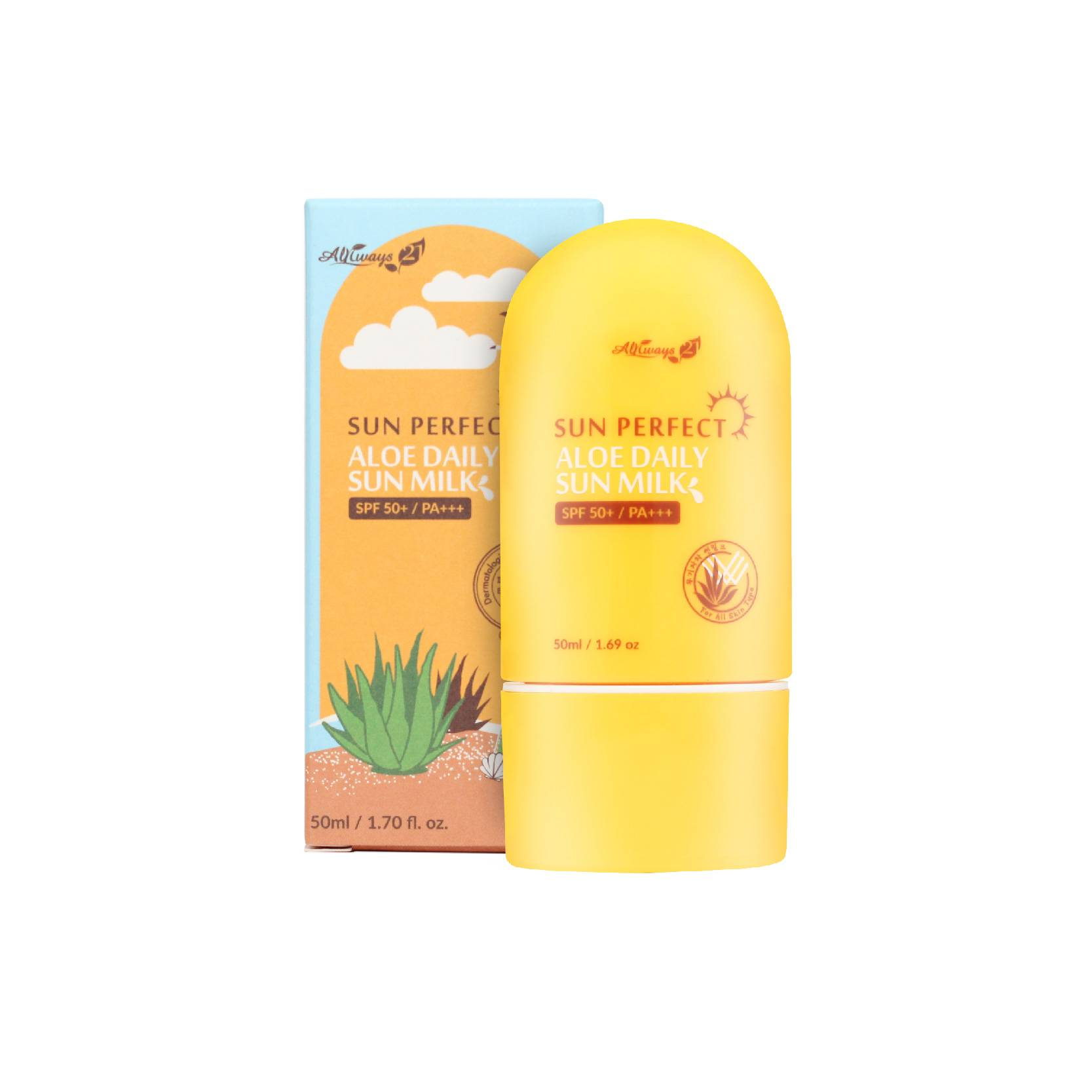 ALWAYS21 Sun Perfect Aloe Daily Sun Milk SPF50+ PA+++