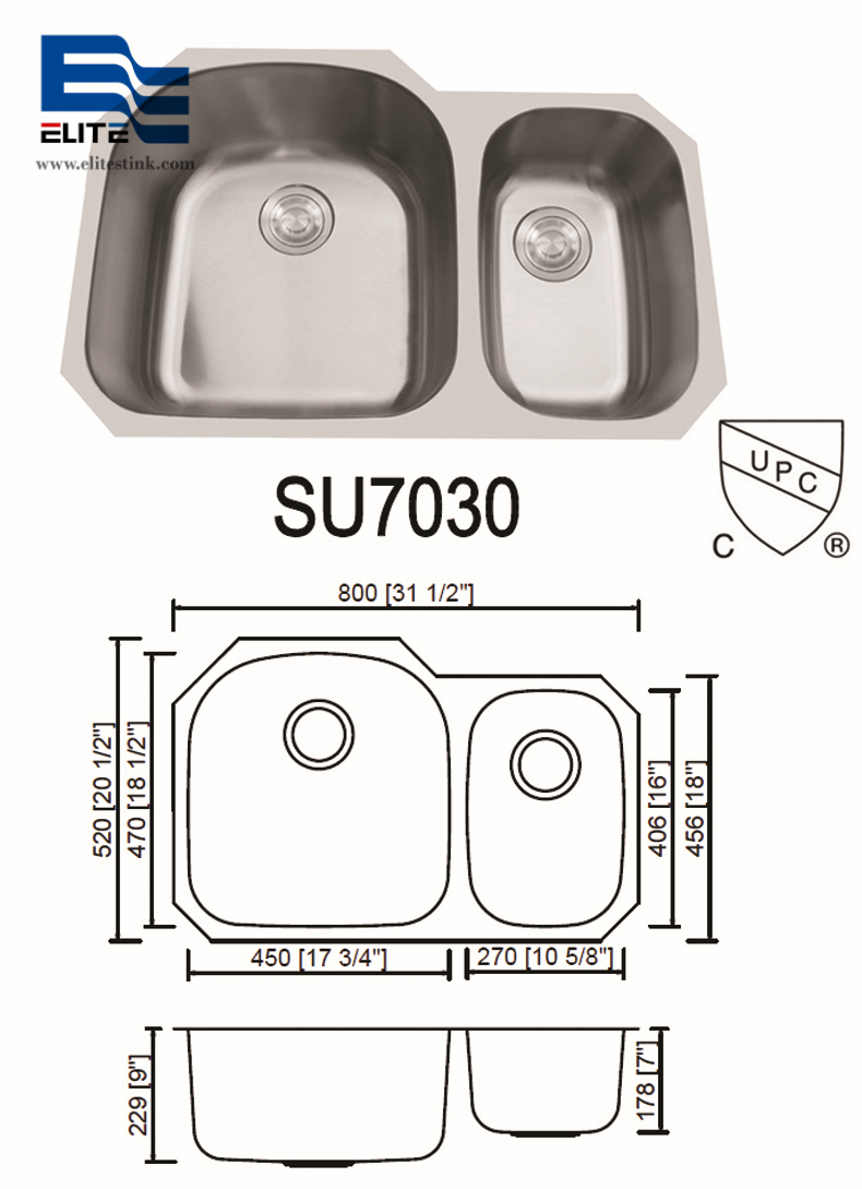 70/30 Stainless Steel Undermount Sink