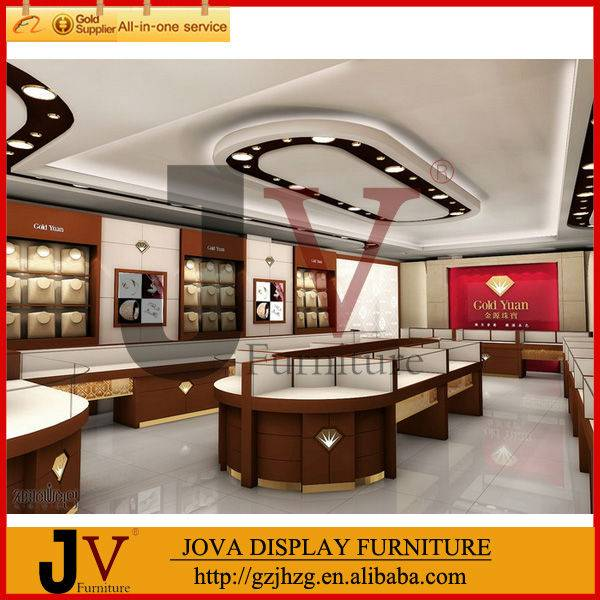Luxurious jewelry shop interior design with display furniture