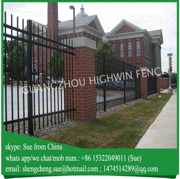 Anti climb black powder coated iron bar picket fence philippines