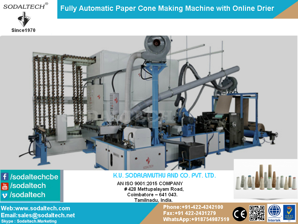 Fully Automatic Paper Cone Making Machine for Textile, Yarn Winding, Packaging, Spinning, Mills