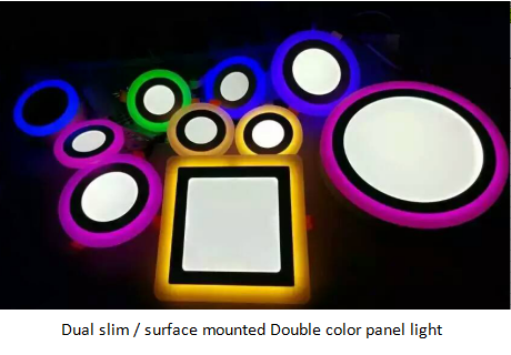 Double color slim/surface mounted led panel light 120° lighting around CE and RoHs certification