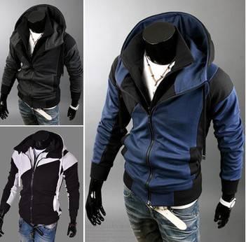 Fashion color block splicing with a hood men sweatshirt casual slim False two hoodies men
