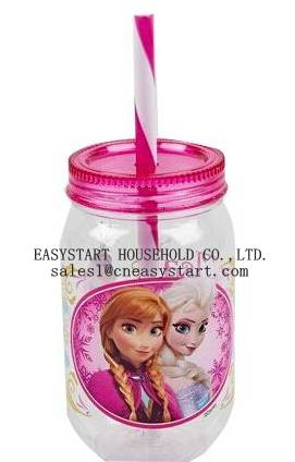 New 480ml for children plastic mason jar with lid and straw
