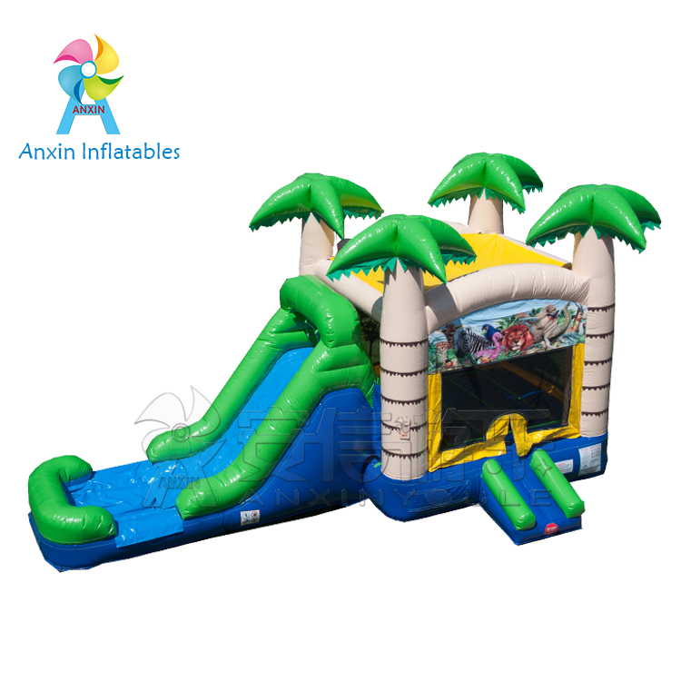 Customized Inflatable castle outdoor bouncy castle with slide aside