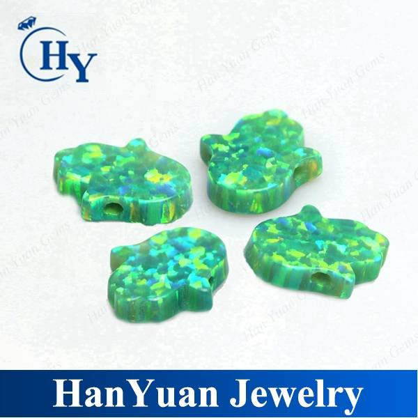 Loose hand shape green synthetic opal hamsa/hand