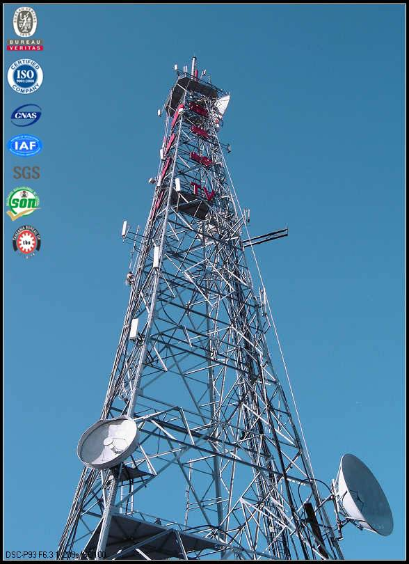 Hot dipped galvanized four legged angular cellphone communication tower