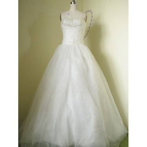 GLAMOROUS BALL GOWN SATIN&ORGANZA STRAPLESS BEADING&SEQUINS CHAPEL TRAIN WEDDING DRESS W1720