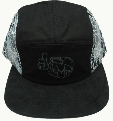 cotton fabric 5 panel snapback hats suede brim printing pattern
