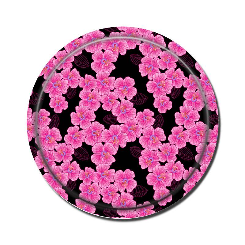 Round Birch Wooden Tray-Pink On Black