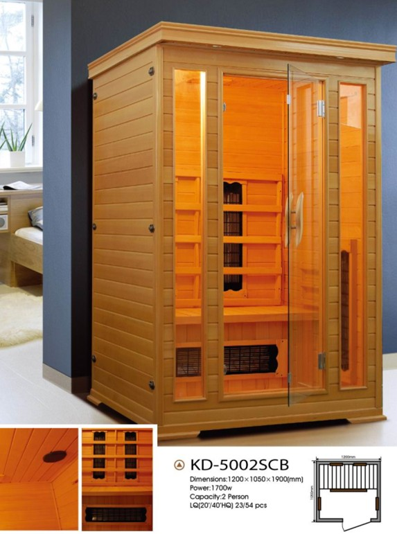 Hot selling 2 person far infrared sauna room and cabin