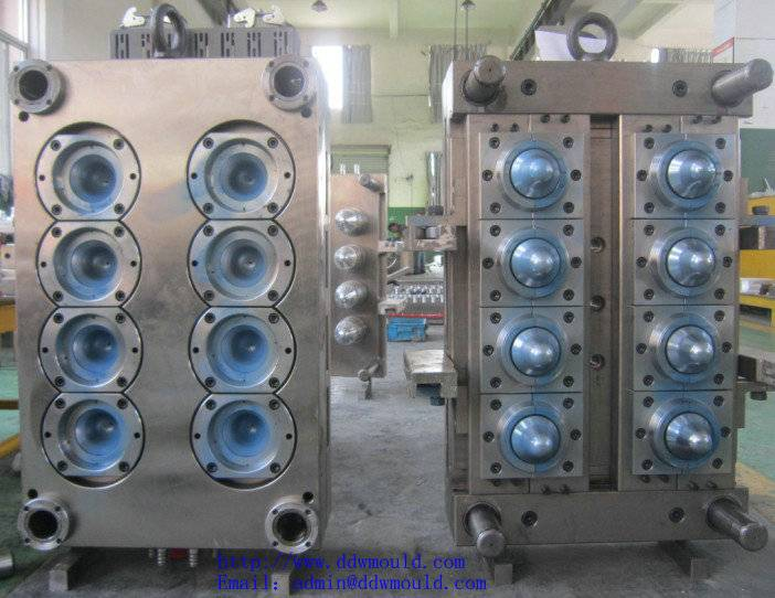 DDW Pneumatic 8 cavity valve gate self-locking PET Jar Injection Mould for Mineral water Packing