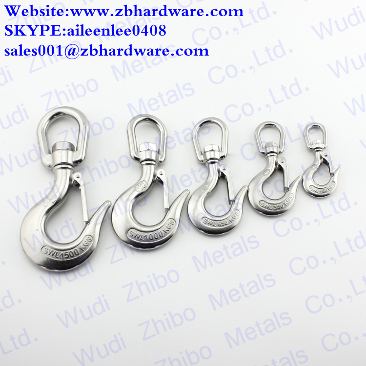 stainless steel Cargo Swivel Hook with Latch Rigging Hardware