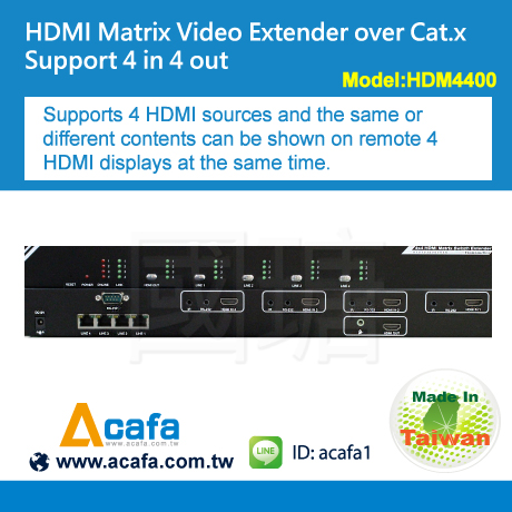 Acafa 4X4 HDMI Matrix Switch Extender over IP with RS-232 Audio