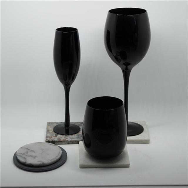 classical pure black egg shape glass wine cup