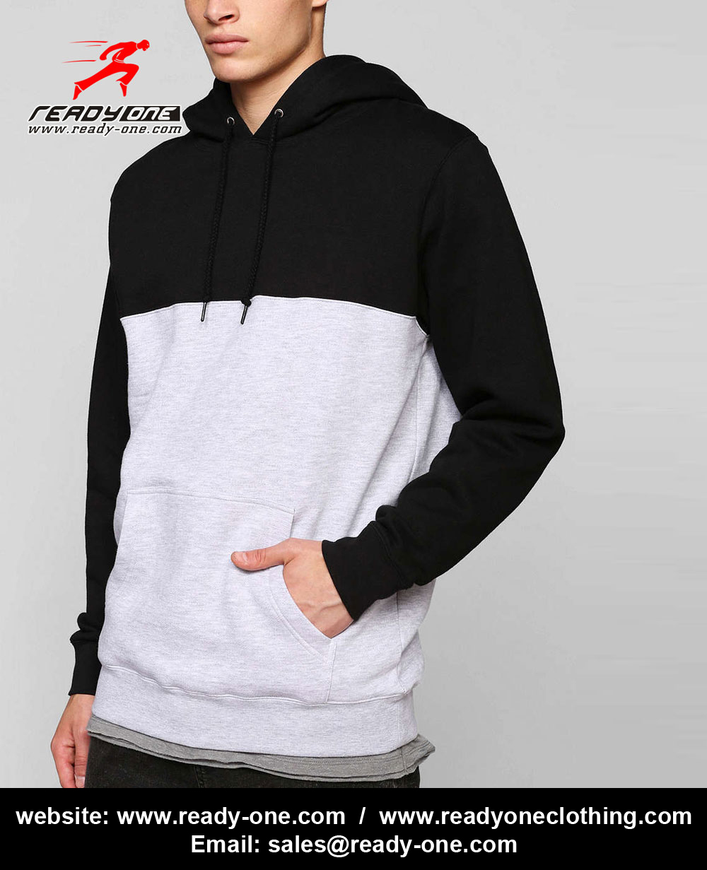 Men Black and White Professional Pullover Hoodie