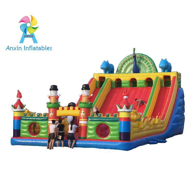 inflatable animal world playground, inflatable beautiful peacock castle with slide, blowing up indoo
