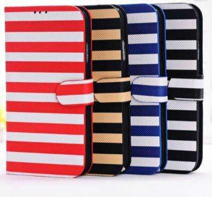 iPhone 6 Striped Pattern Leather Folio Cover Case with Stand