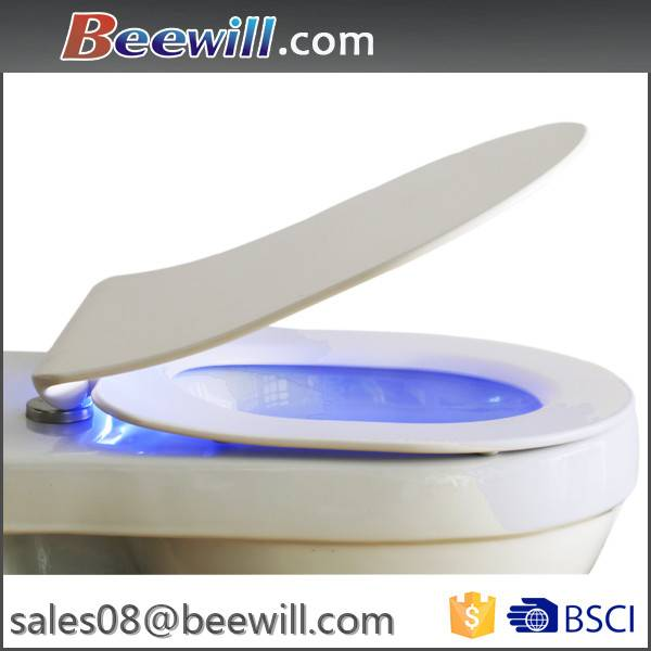 Quick release soft close duroplast slim toilet seats with LED light night