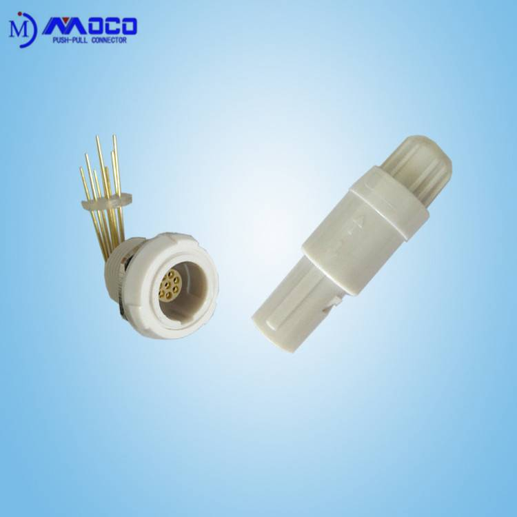 circular plastic medical equipment connector with elbow contacts