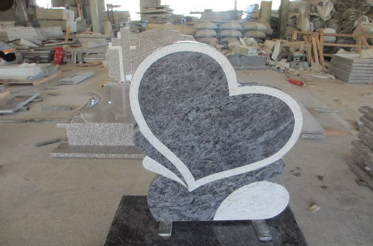 Poland style granite tombstone with heart shape