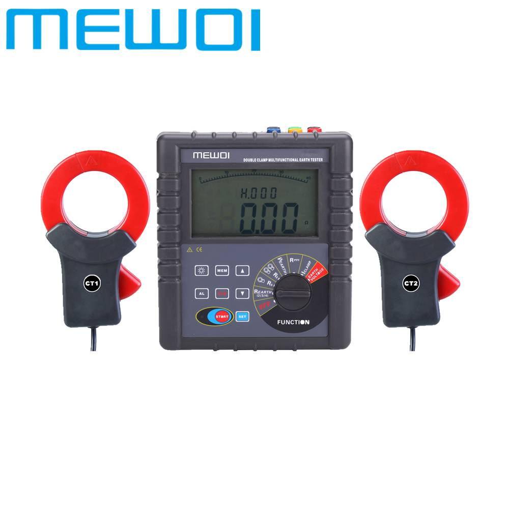 MEWOI4200-0.01ohm~30.00kohm AC600A Double Clamp Earth Ground Resistance Tester/Detector-upgraded ver