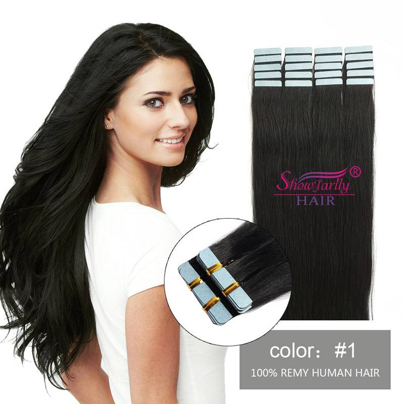 Tape in hair extensions #1B natural black