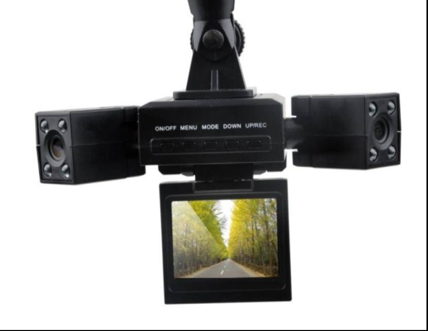 Dual Camera Car DVR with Wide-angle Lens