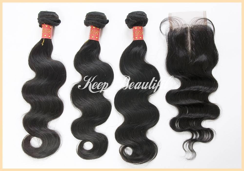 Malaysian Virgin Human Hair 3pcs With Middle Part Lace Closure Human Hair Weave Wavy