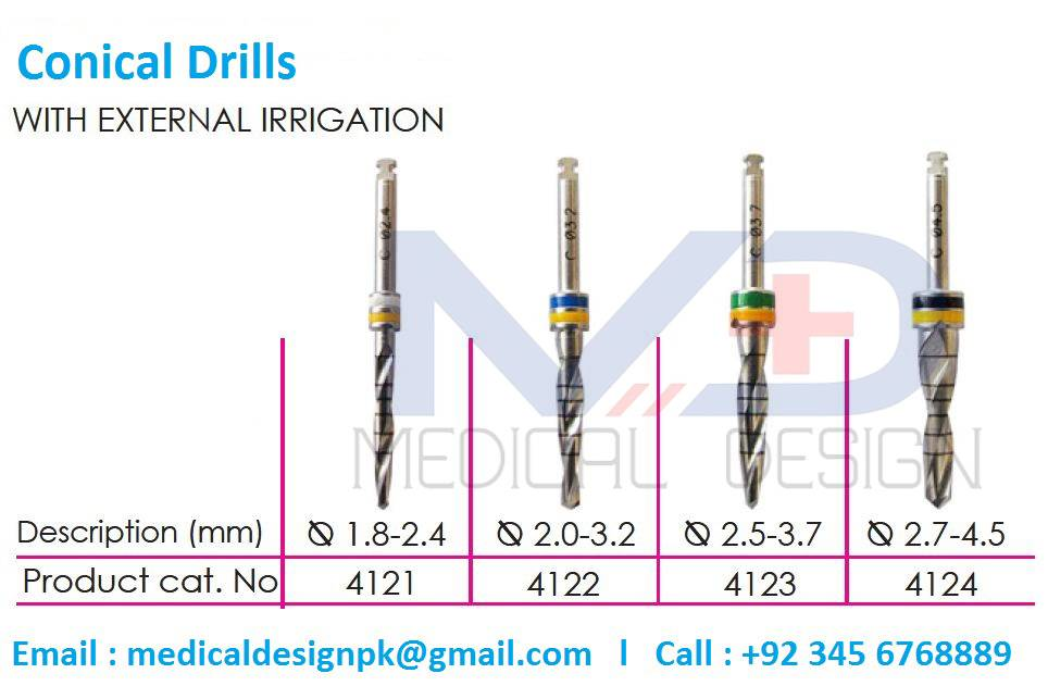 Conical Drills with External Irrigation Dental Drills