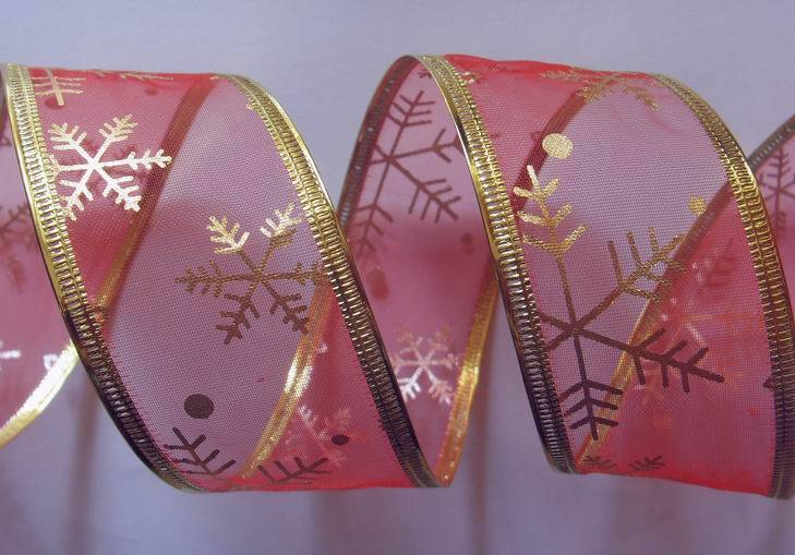 red organza with gold snowflowers fabric, sonic pressing gold wire edge