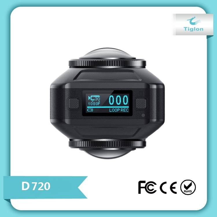 720 Degree Panoramic VR Camera with Dual Spherical Lens [Front & Back], HD Wi-Fi Digital Photography