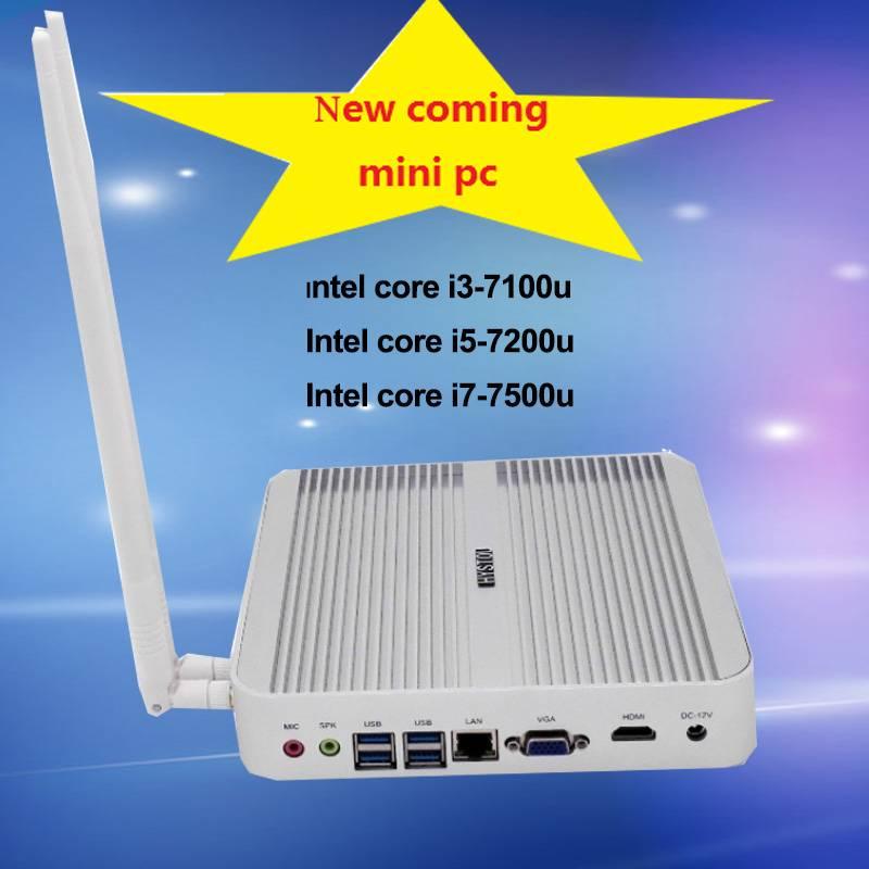 7th GEN CPU Intel core i3 7100u HD620 graphics fanless mini pc