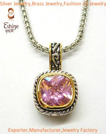 Unique Brass jewelry Designer inspired Pendant with square pink stones party pendant