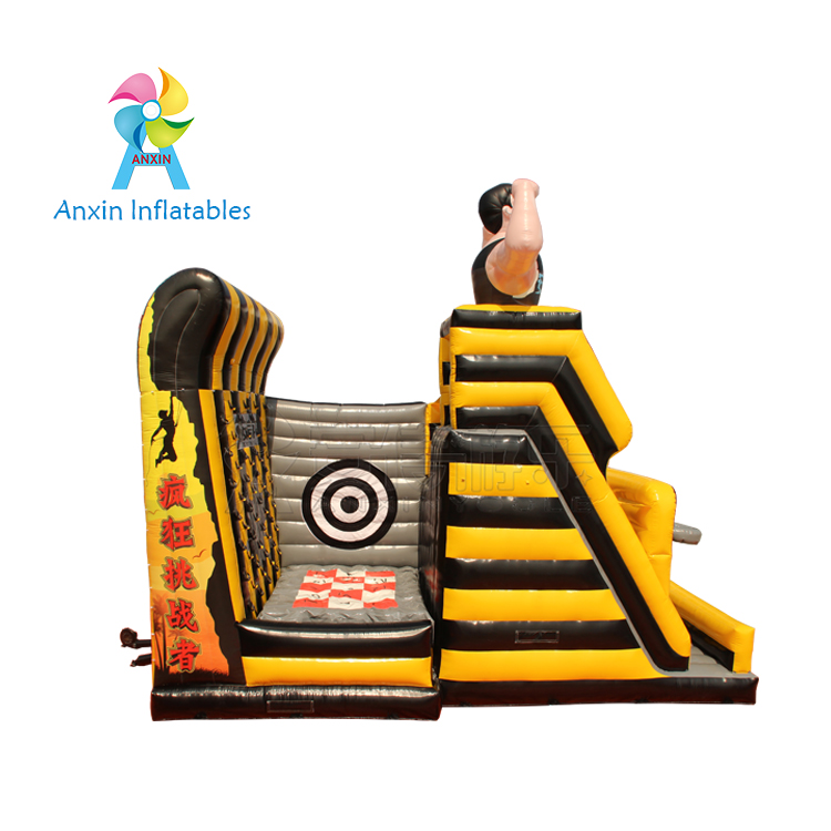 inflatable outdoor sport games cliff jumping , inflatable playground with slide and rock climbing