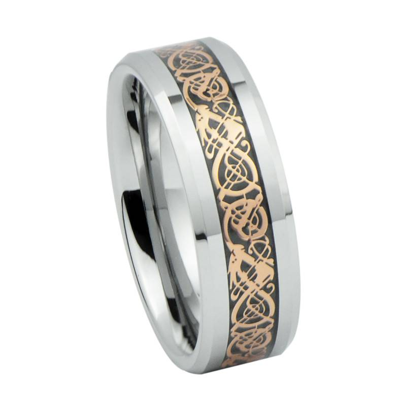 2014 Fashion Vogue Jewelry Rings, Rose Gold Pattern Inlay Tungsten Carbide Celtic Wedding Rings