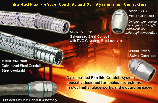 heavy series over Braided Flexible metal Conduit,metal conduit Connector for metal works cables prot
