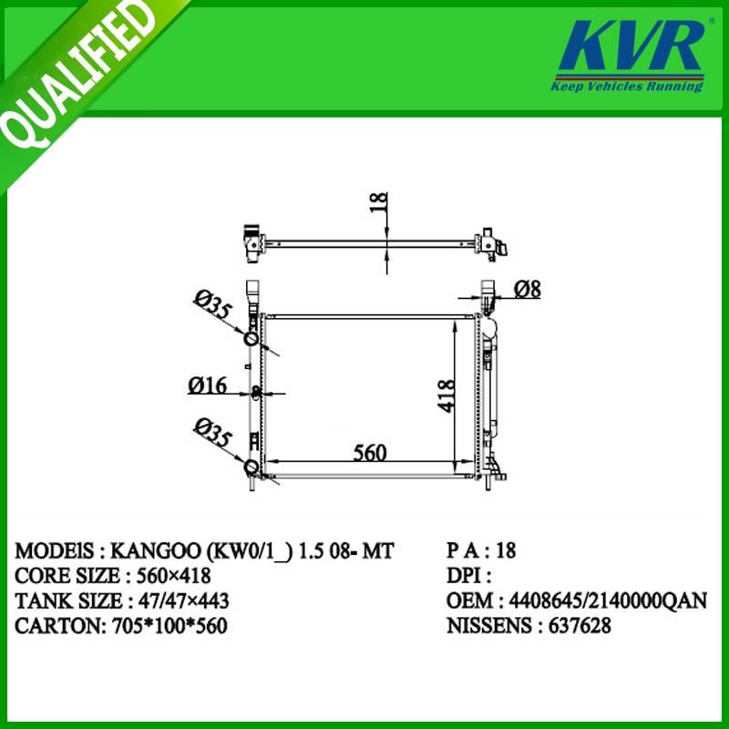 RENAULT radiator for KANGOO(KWO/1_) 1.5 08-