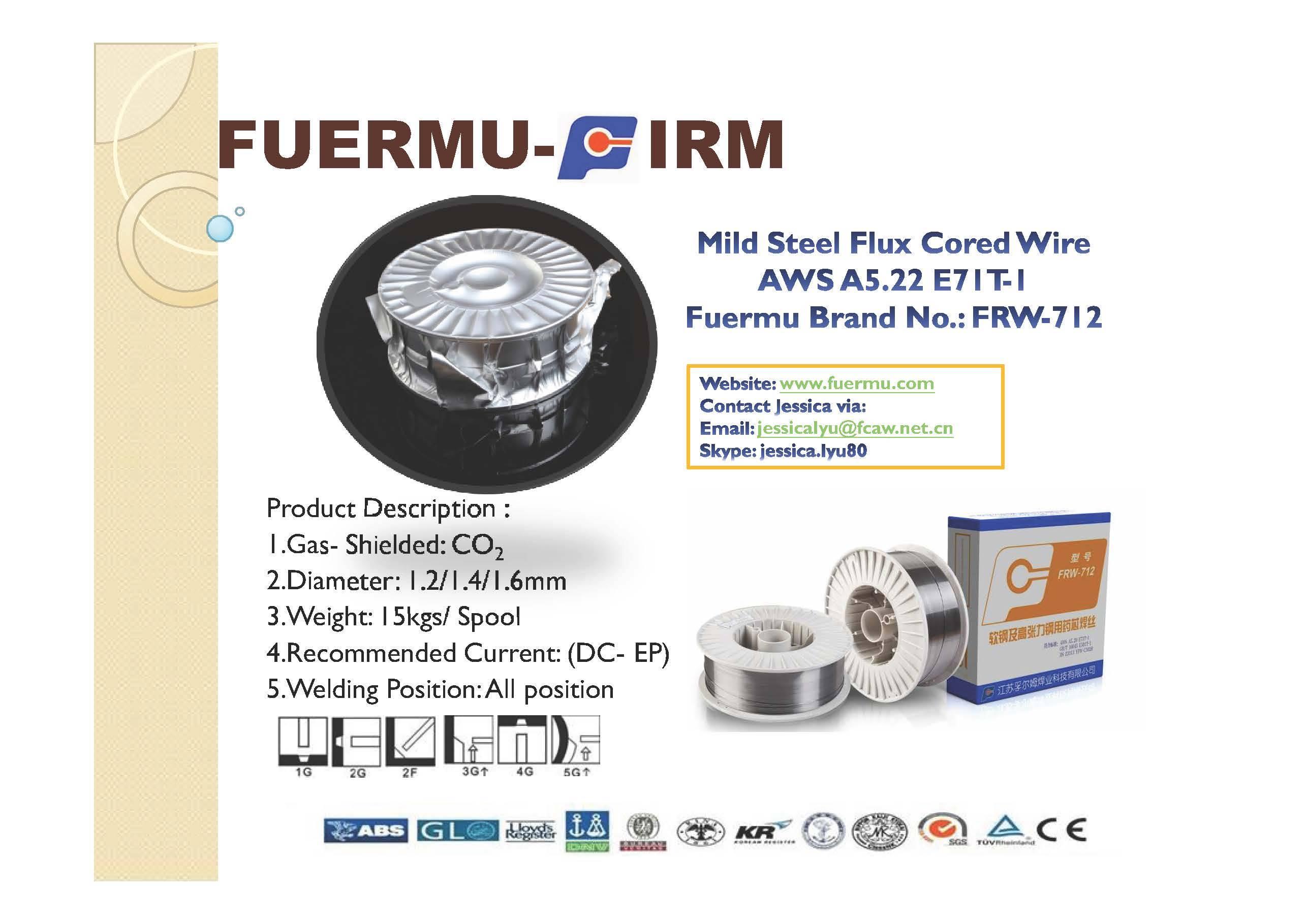 E71T-1 Flux Cored Wire, Fuermu Brand: FRW-712