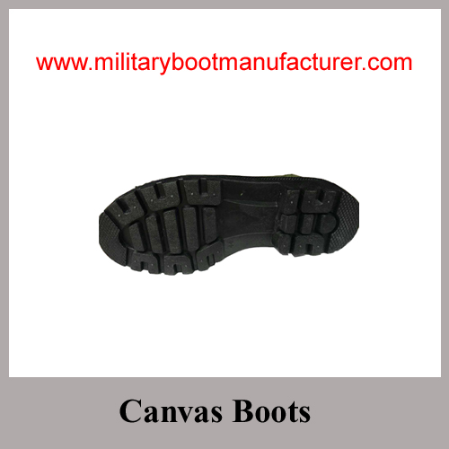 Wholesale China Made Army Green Color Police Cotton Canvas Boot
