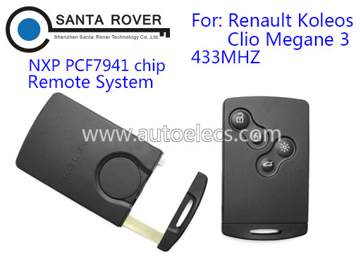 433Mhz For Renault Koleos Clio Megane 3 Smart Card Remote Key 4 Button PCF7941 Laser Blade