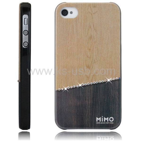 MiMO Series Crude Wood Style Handmade Diamond Encrusted Plastic Case for iPhone 4 & 4S