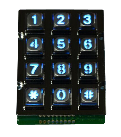 12 keys zinc alloy keypad with blue or white or red backlight optional for access control