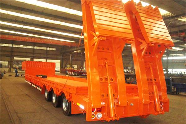 Fudeng cheap 4 axles 100 ton heavy haul tractor front load neck low bed trailer for sale south Afric