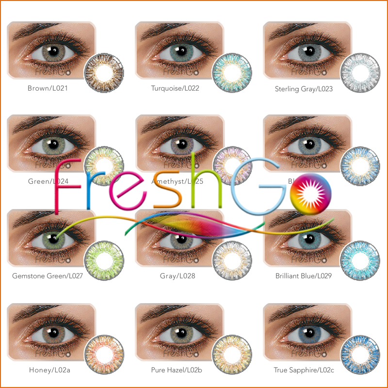 Freshgo 3 Tone Colored Contact Lenses 14.5mm Circle Soft Color Contact Lens For Big Eye Wholesale