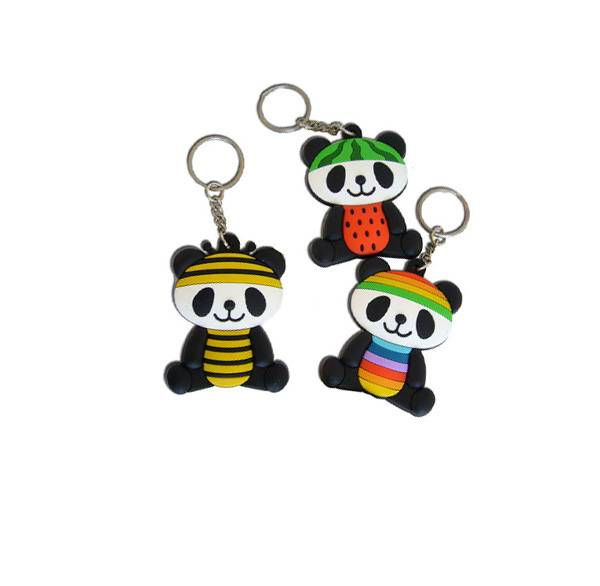 3D design soft PVC lovely panda keychain personal tailor