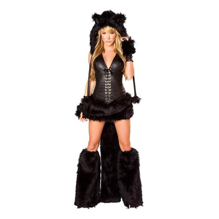 2013 New sexy Catwoman wearing furry animal Halloween costume role play black