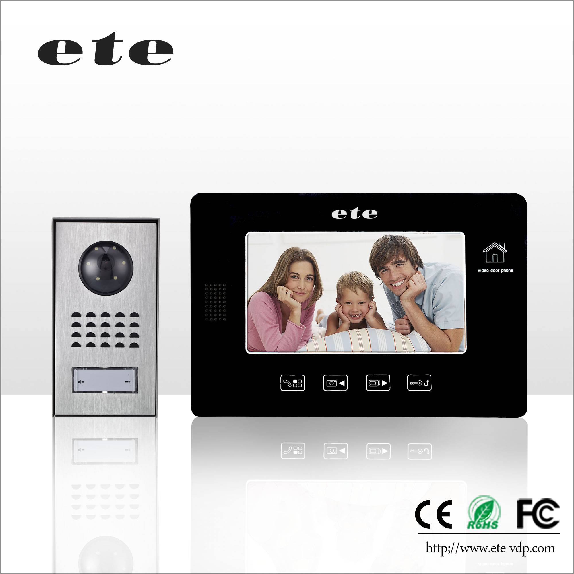 "Support 32GB TF Card door Intercom Digital 7"" LCD Video Door bell with recording function"