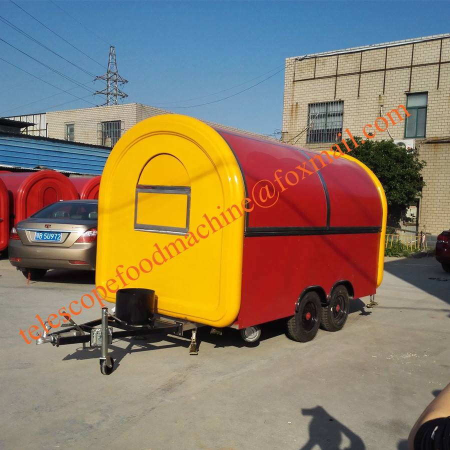 oreange fast food trailer dual axles mobile food cart trailer electric hot dog food truck